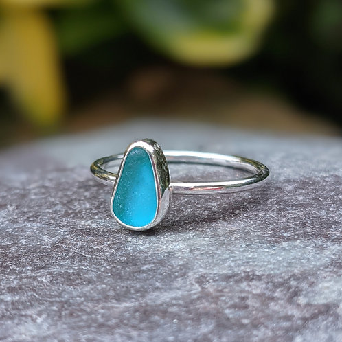 Turquoise Cornish pear seaglass ring