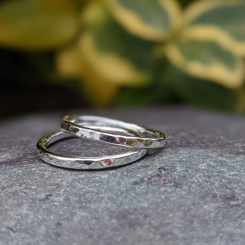 Two hammered stacking rings