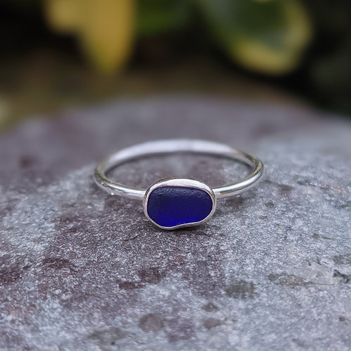 Cornish dark blue seaglass ring