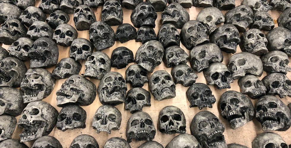 False Idol Tiki Bar San Diego Red LED Skull Wall Cave Entrance