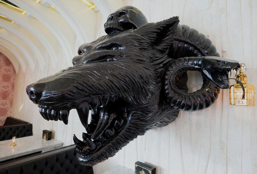 Kindred Vegan Restaurant San Diego CA Giant Wolf Custom Decorative Sculpture made by Kihl Studios