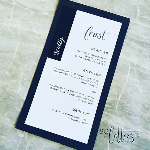 Simple and classic black and white menus