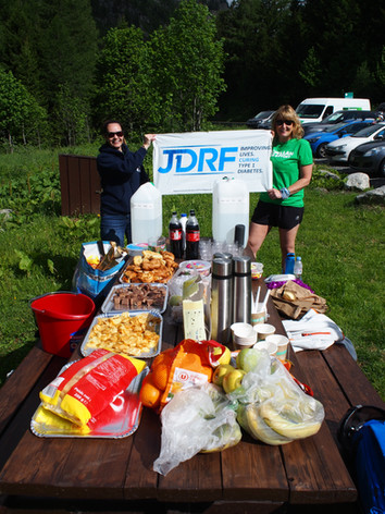 Support crew await the runners with snacks and drink.