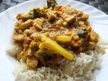 Lentejas al curry con leche de coco