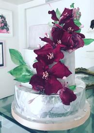 wedding cake hand made flowers