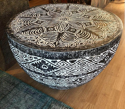 Tribal carved coffee table round