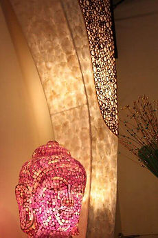 Mosaic Buddha lamp and shell & bamboo floor lamp