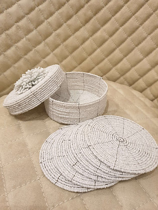 Beaded Costers White