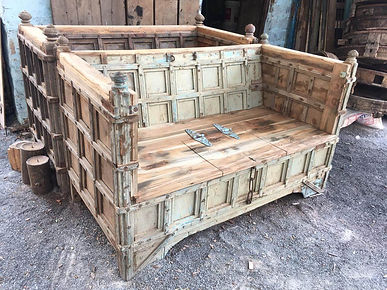 Vintage Indian bench with storage