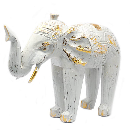 Elephant hand carved White