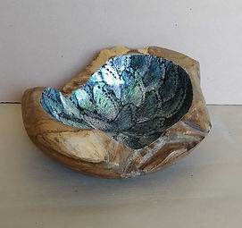 Shell and teak bowl