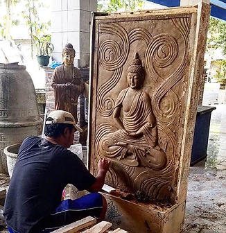 Indonesian worker painting