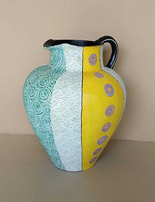 Decorative hand painted jug