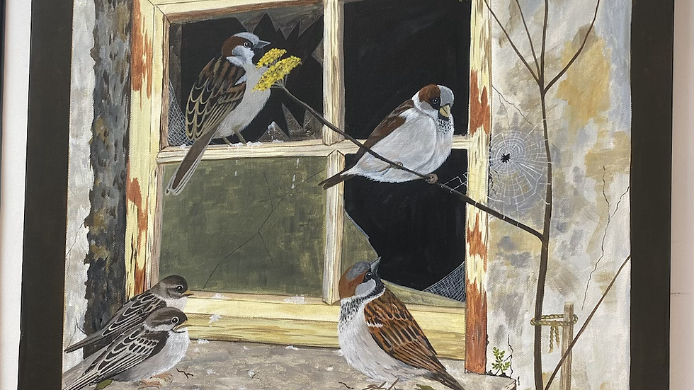 Sparrows by the window painting!