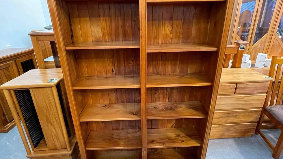 Large Solid rimu double bay bookcase