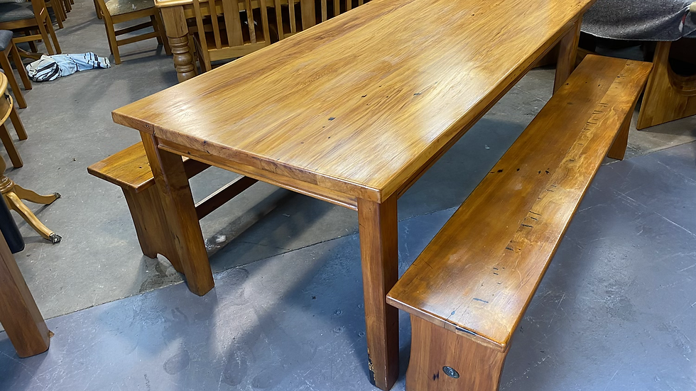 Country Classic Solid recycled rimu dining table & 2 bench seats!