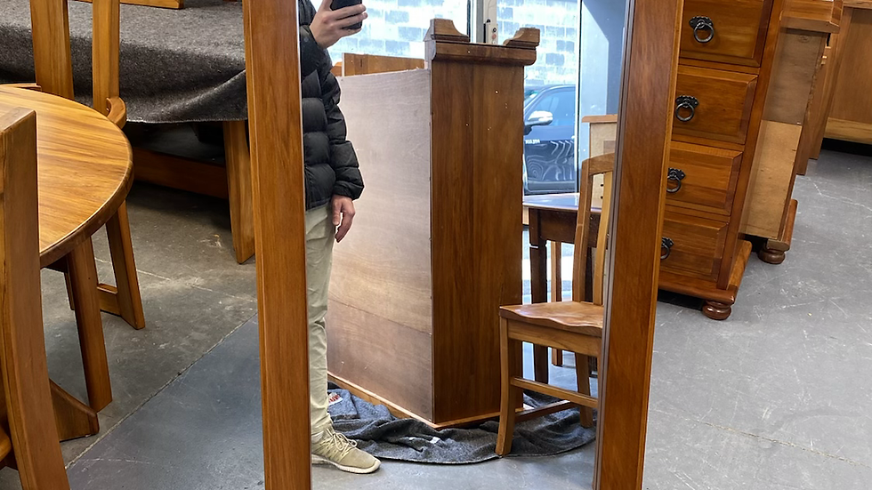Woodpecker solid recycled rimu free standing mirror