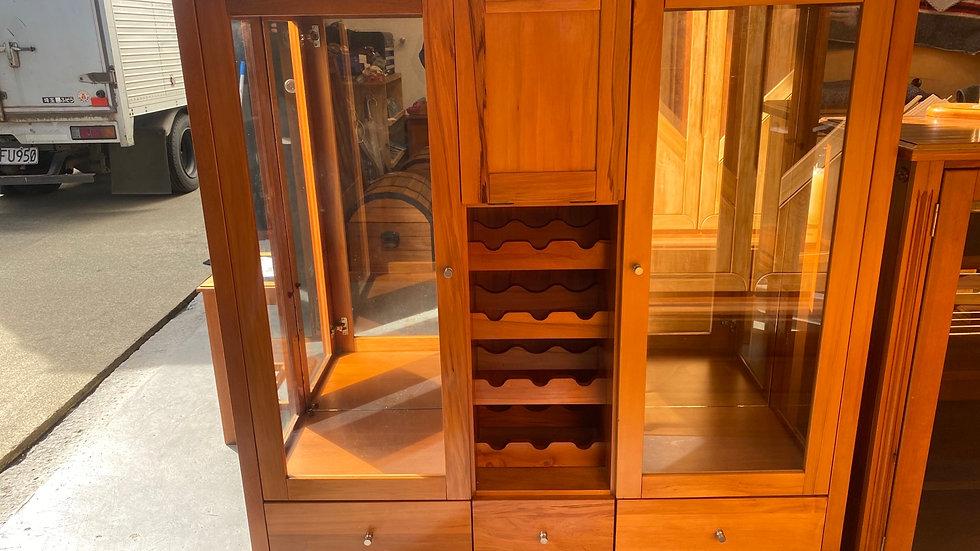 Danske mobler solid rimu display cabinet with wine rack!