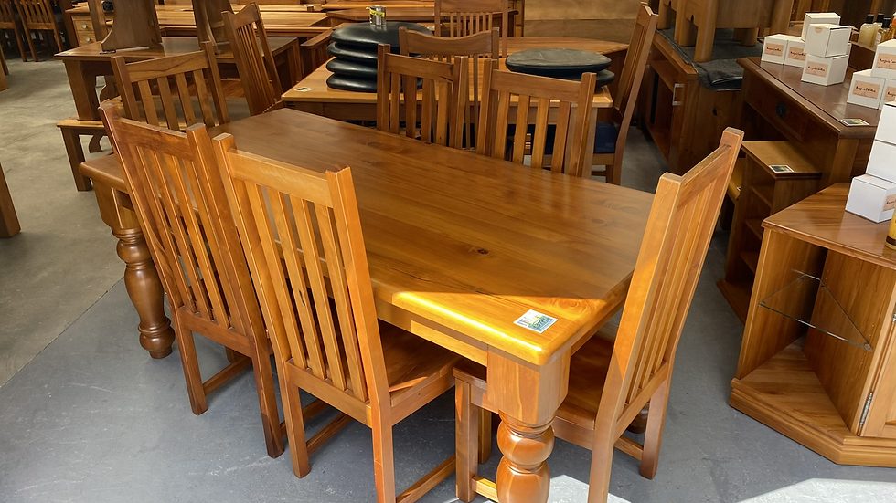 Solid rimu 7pcs dining suitewith Woodpecker Chairs