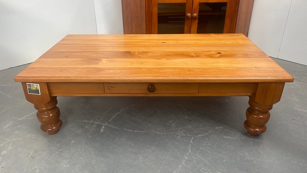 Solid recycled rimu coffee table with drawer!