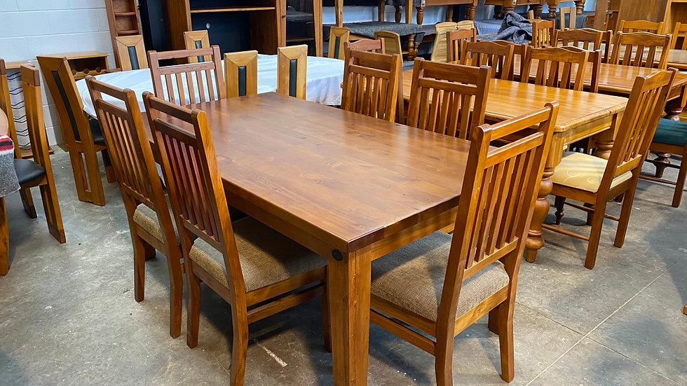 Woodpecker solid recycled rimu 7 pcs Clutha dining suite!