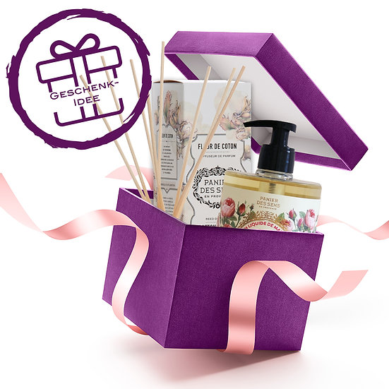 Geschenkset - Panier des Sens Diffuser Baumwollblüte & Seife Rose