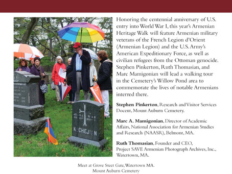 4/22 Armenian Heritage Walk at Mt. Auburn Cemetery
