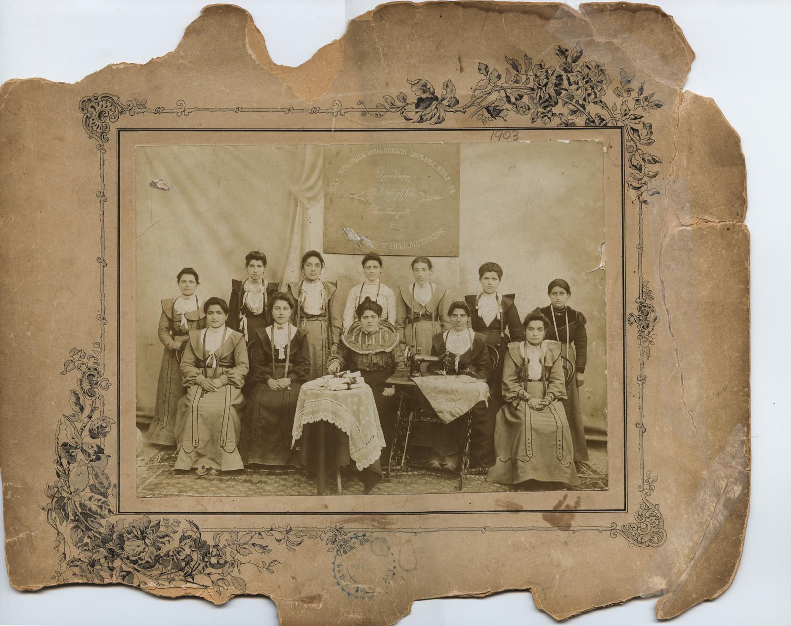 Seamstress Class Graduation, National Aramian Trade School (founded 1903), Sepastia, Ottoman Empire, c. 1908; photographer unknown.