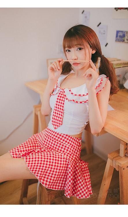 D115  格子学生装可爱娃娃领荷叶裙制服诱惑露背绑带女