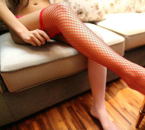 W038 红色长筒蕾丝花边小网袜