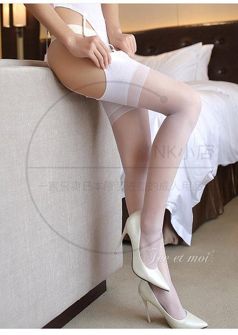 W024 性感诱惑透明接拼渐变过膝长筒袜吊带丝袜(白色)