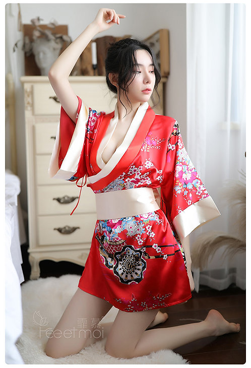 D150 霏慕欧美情趣内衣女装制服诱惑深V印花日式和服性感套装