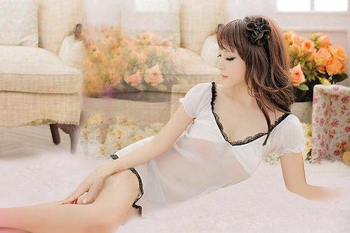 A020 性感内衣 经典性感低胸吊带透明女式性感睡衣 可爱公主服+T裤