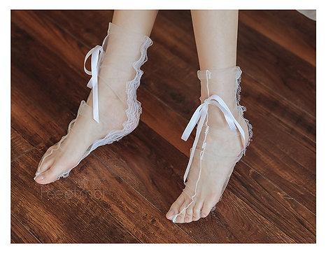 W043 白色性感蕾丝网纱透视捆绑丝袜