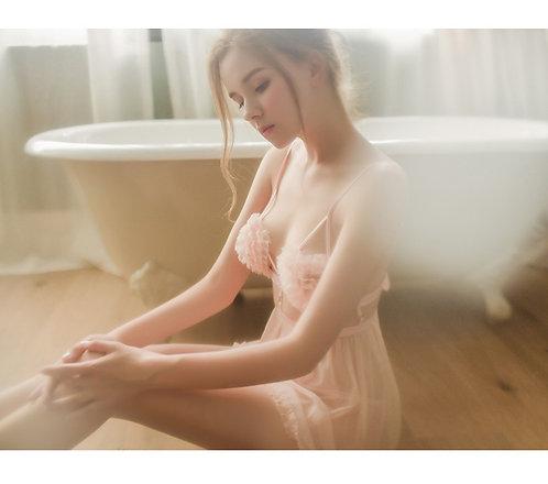 D101 珞樱情趣内衣后背绑带性感镂空诱惑花边裙摆睡裙套装