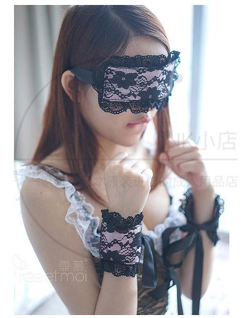 情趣内衣配件3件组合套装蕾丝黑色性感眼罩+2手环