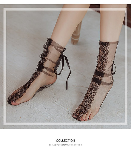 W042 黑色性感蕾丝网纱透视捆绑丝袜