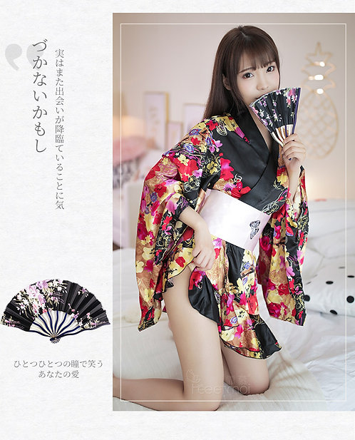 D138  女式日式印花开襟大蝴蝶结性感制服诱惑和服套装