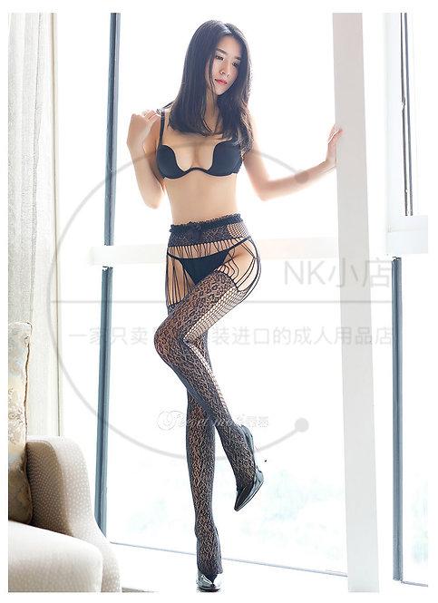 W029 女装网眼天鹅绒吊带一体性感连裤袜(豹纹)
