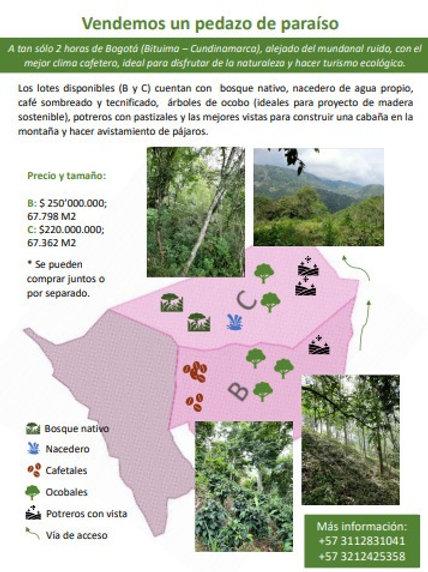 Lotes Colombia Bituima Cundinamarca