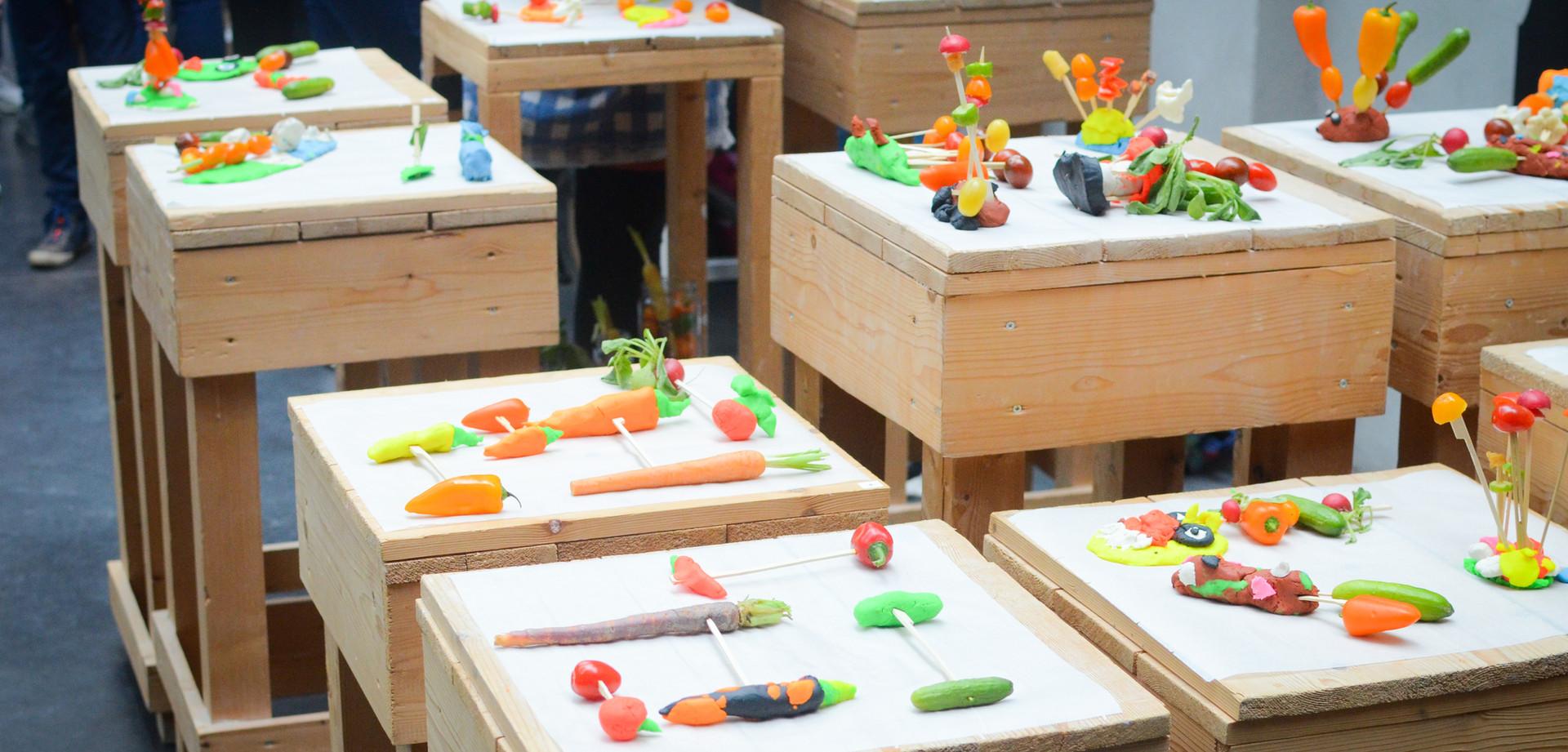 Groentekunstwerkjes Kinderkunstcongres foto: Lotte Bosma - Méér Muziek in de Klas