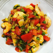 Sauté de crevettes aux petits légumes