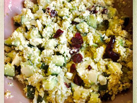 Salade fraicheur concombre, boulghour, feta, cranberries