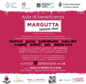 19 settembre ore 18: Margutta Stazione Urban – asta di solidarietà per Emergenza Sorrisi