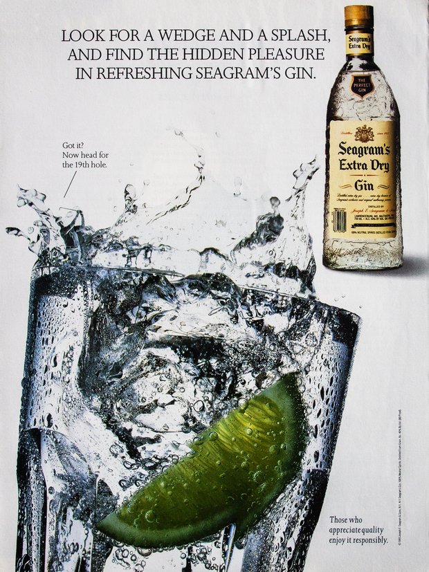 LOOK FOR A WEDGE AND A SPLASH, AND FIND THE HIDDEN PLEASURE IN REFRESHING SEAGRAM'S GIN.