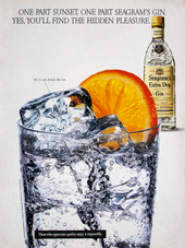 ONE PART SUNSET. ONE PART SEAGRAM'S GIN. YES, YOU'LL FIND THE HIDDEN PLEASURE.