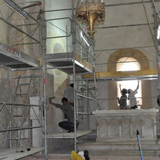 During reconstitution of the medieval decoration