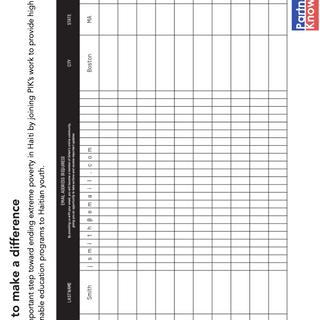 Signup Sheet Handout