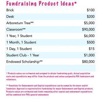 Fundraising Product Ideas Spreadsheet