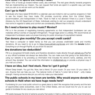 You Me Haiti FAQ